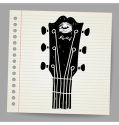 sketch of an acoustic guitar neck vector image