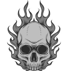 skull on fire with flames vector image