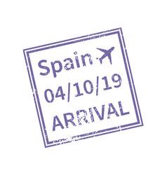 spain international travel visa stamp isolated vector image