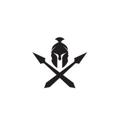 Spartan warrior helmet logo design template vector