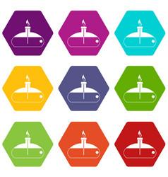 Spiritlamp icon set color hexahedron vector