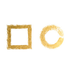 square and round golden frames on a white vector image