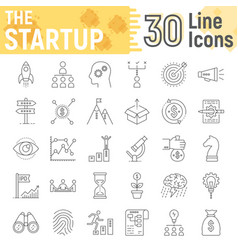 startup thin line icon set development symbols vector image