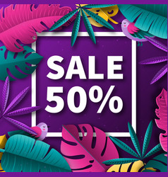 summer sale background with tropical plants vector image
