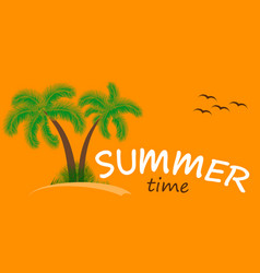 summer time background two palm trees vector image