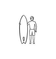 surfer standing with surfboard hand drawn outline vector image