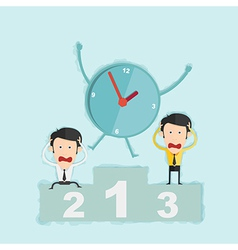 Time management concept win business man on podium vector