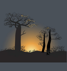 Tranquil silhouette baobabs on a sunset sky vector