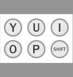 Typewriter keys yuiop vector