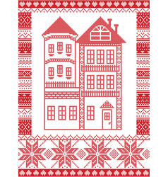 Winter nordic style gingerbread house vector