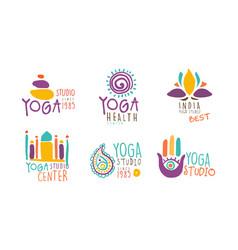 yoga studio logo design set sports club vector image