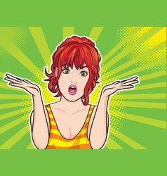 young woman spread her hand and shrugging shoulder vector image