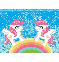 Card with a cute unicorns and rainbow vector image