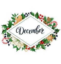 december design composition of poinsettia fir vector image vector image