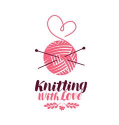 knitting logo or symbol ball of yarn with needles vector image