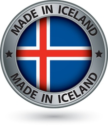 Made in Iceland silver label with flag vector image vector image