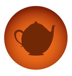 orange color circular frame with silhouette tea vector image