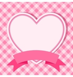 pink frame with heart for invitation card vector image vector image