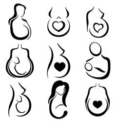 Pregnant woman symbol set vector image