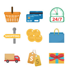 shopping icon set flat style shop icons vector image vector image