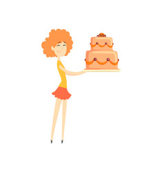 smiling redhead girl holding big festive cake vector image vector image
