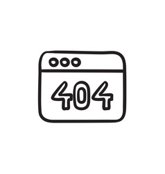 Browser window with 404 error sketch icon vector