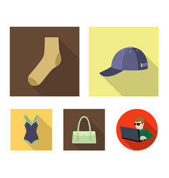 cap sock hat bag and other clothes clothes set vector image vector image