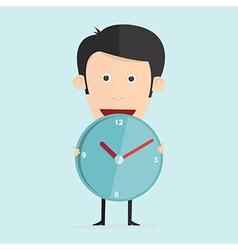cartoon with clock in flat design vector image vector image