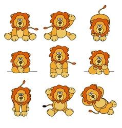 cute lion set vector image vector image