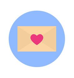 envelope heart shape icon on blue round background vector image