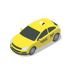 yellow taxi cab isolated isometric 3d icon vector image