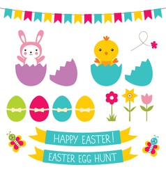 Easter hunt set vector image