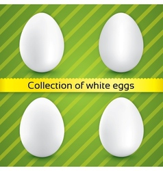 Happy easter white eggs collection vector image vector image