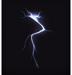 Lightning on black vector image
