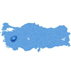 Map of Turkey Usak vector image vector image
