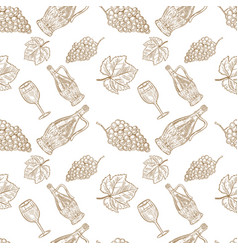 seamless pattern with hand drawn wine bottle wine vector image