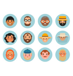 set beautiful emoticons face of people vector image