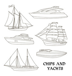 ships and yachts set vector image