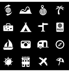 White travel icon set vector