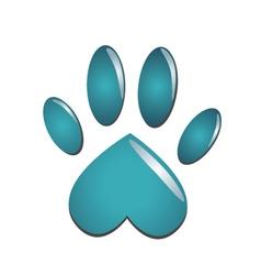 Blue animal paw vector image