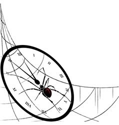 clock spiderweb and spider vector image vector image