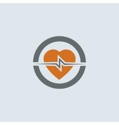 Gray-orange Heart Round Icon vector image