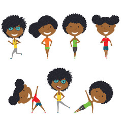 running and work out african-american girls vector image
