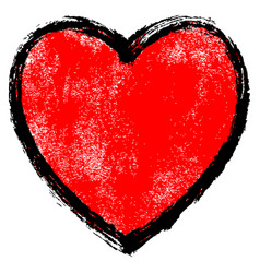 texture red heart with black contour vector image vector image