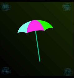 a colored umbrella on a dark background vector image vector image