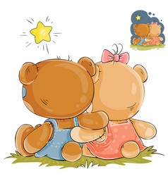 A pair of teddy bears vector