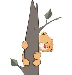 A stuffed toy bear cub on a tree cartoon vector