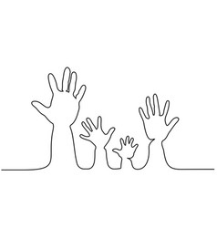 abstract family hands parents and children line vector image
