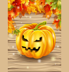 Autumn leaves and pumpkin on wooden boards vector