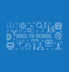 back to school concept outline horizontal vector image
